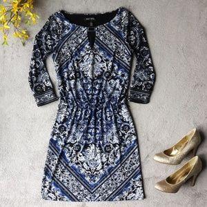 WHBM Blue Damask Career Jersey Dress